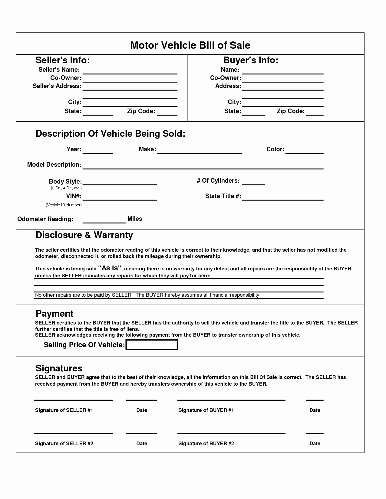 Printable Car Bill Of Sale Pdf