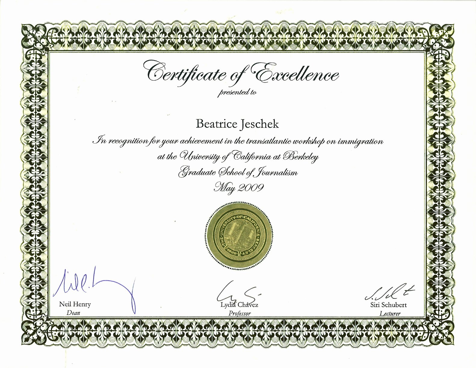 Printable Certificate Of Excellence Template