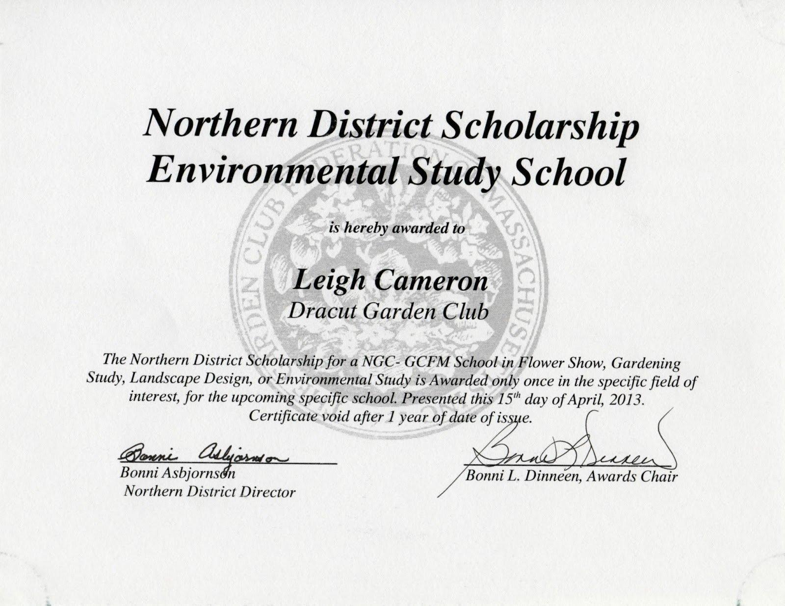 Printable Certificate Of Scholarship Award