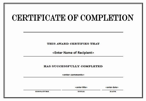 Printable Certificates Of Pletion