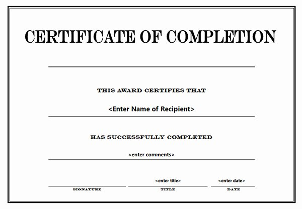 Printable Certificates Of Pletion