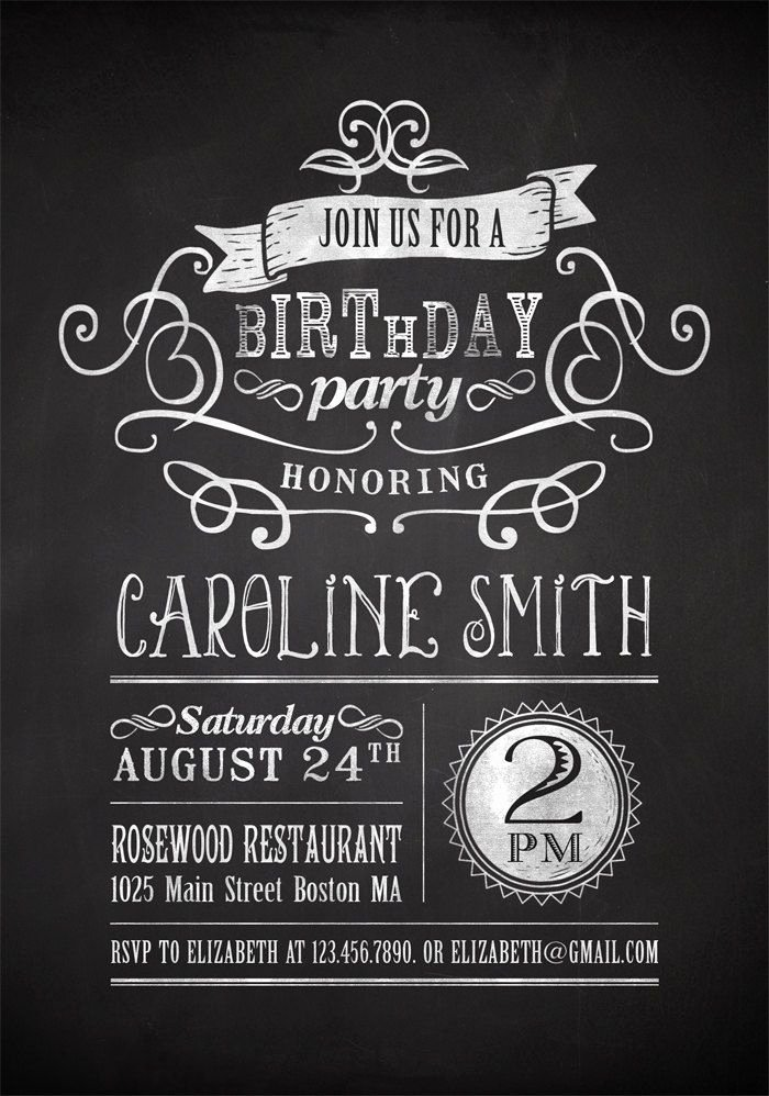 Printable Chalkboard Birthday Party Invitation