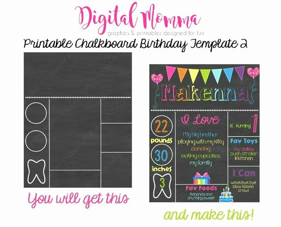 Printable Chalkboard Birthday Template Personal & Mercial