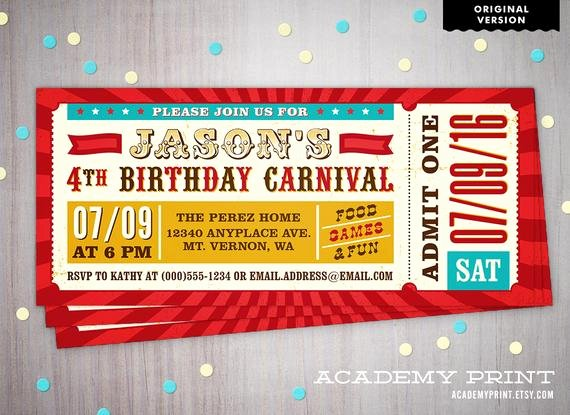 Printable Children S Birthday Carnival Ticket Invitation