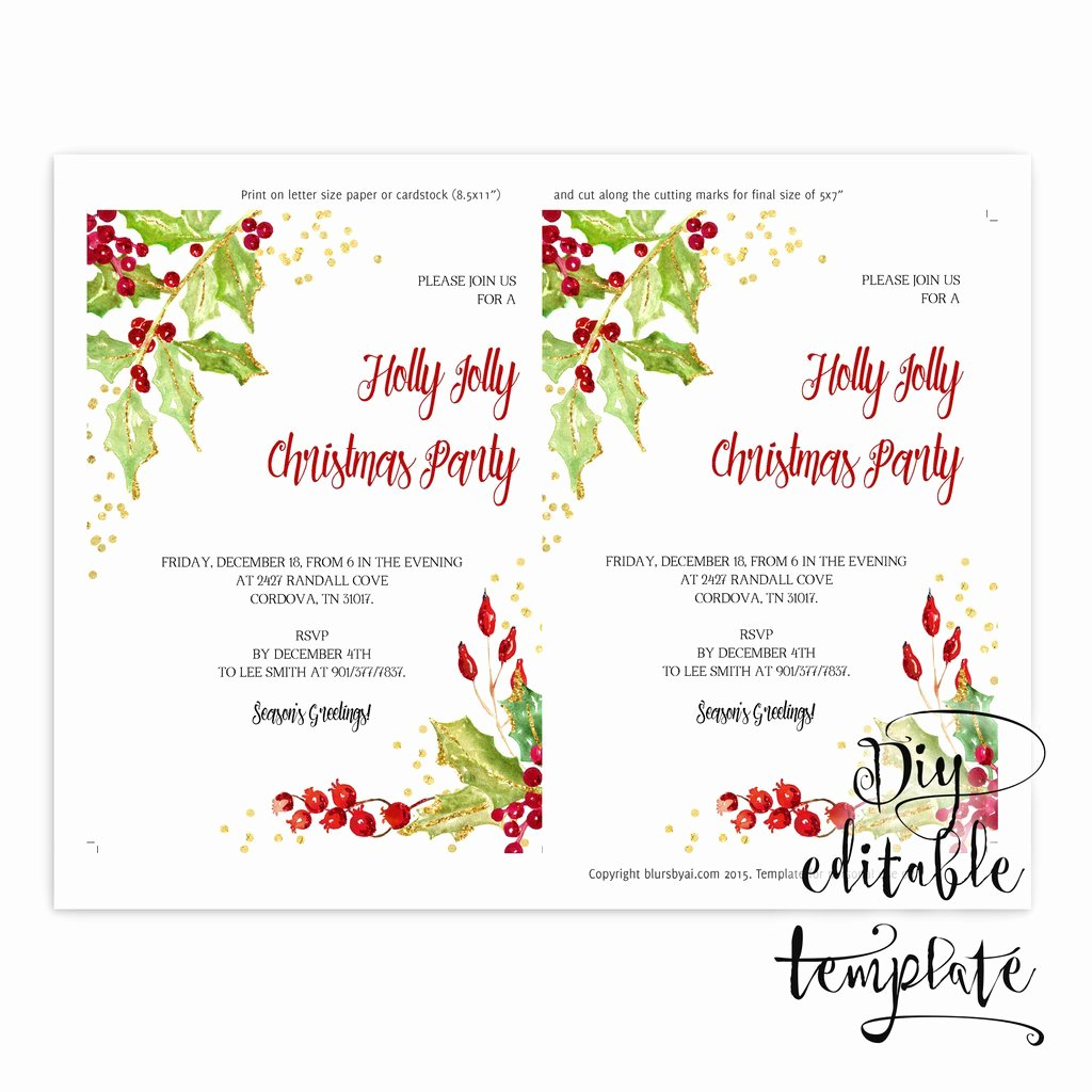 Printable Christmas Party Invitation Template for Word In