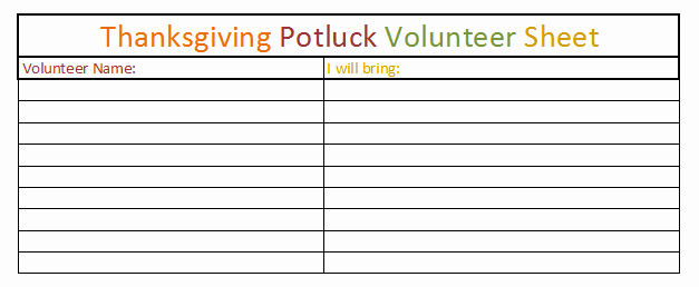 Printable Christmas Potluck Sheets