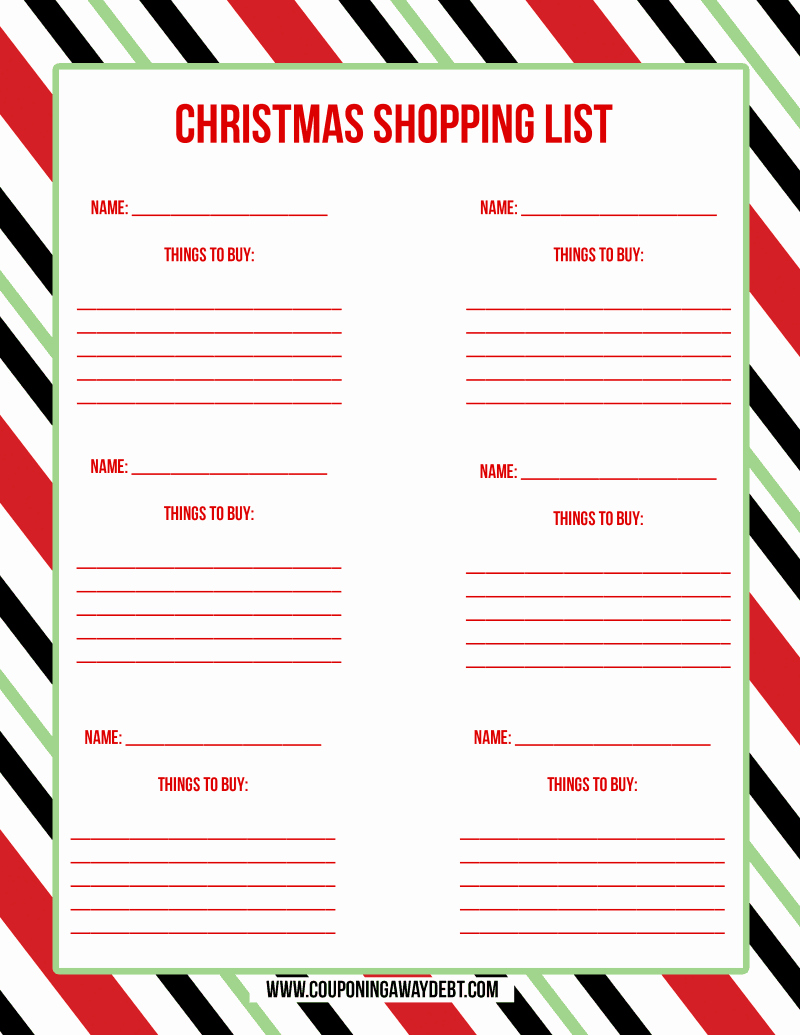 printable christmas shopping list