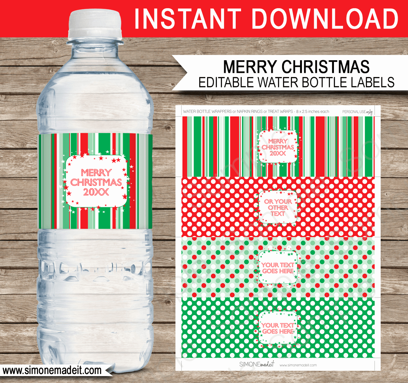 Printable Christmas Water Bottle Labels Template