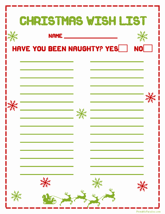 Printable Christmas Wish Lists – Happy Holidays