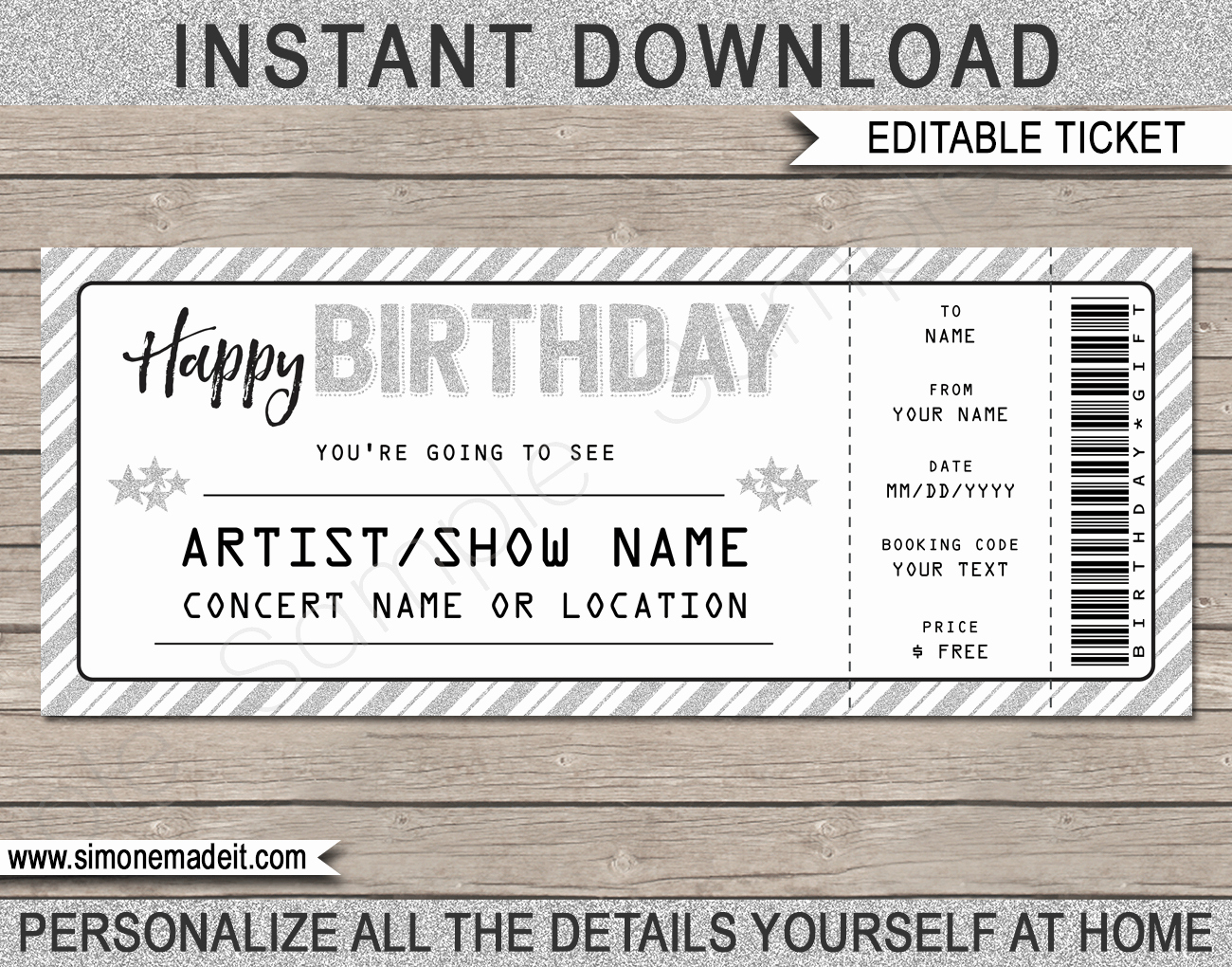 Printable Concert Ticket Template