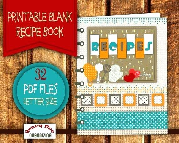 Printable Cookbook Template Recipe Book Binder Page Cover
