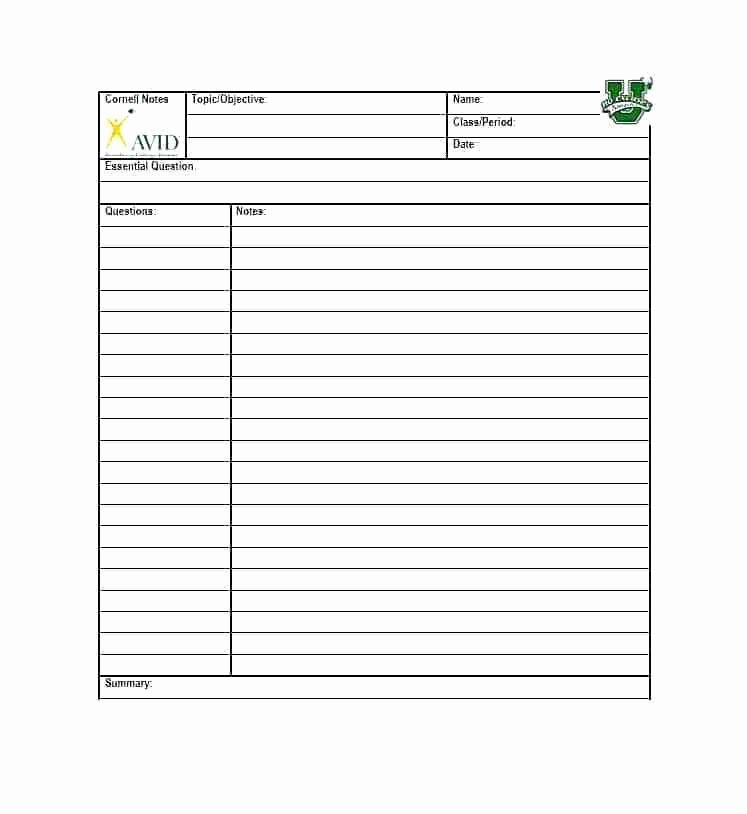 Printable Cornell Note Sheet