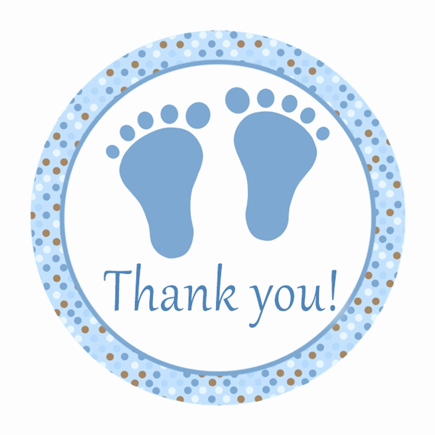 Printable Cute Blue Brown Polka Dots Baby Feet Thank You