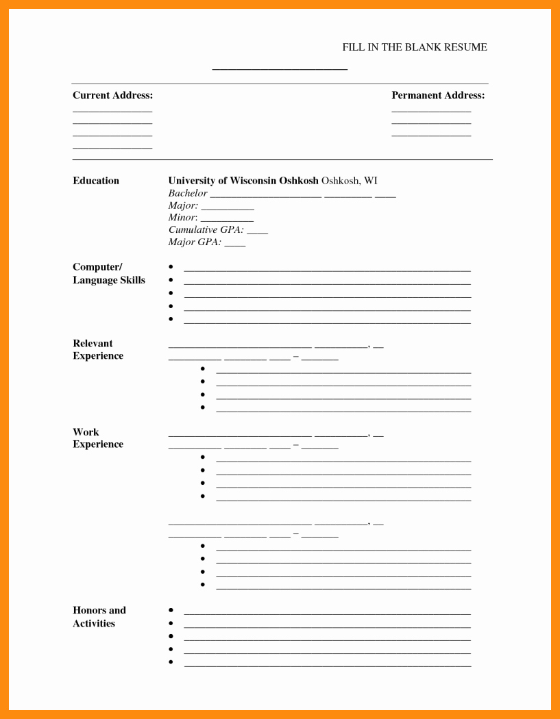 Printable Cv Template Printable Pages