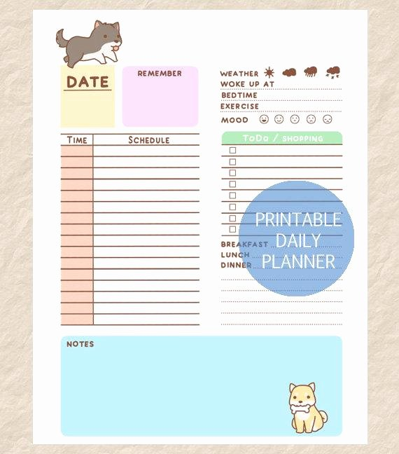 printable daily dog planner cute dog