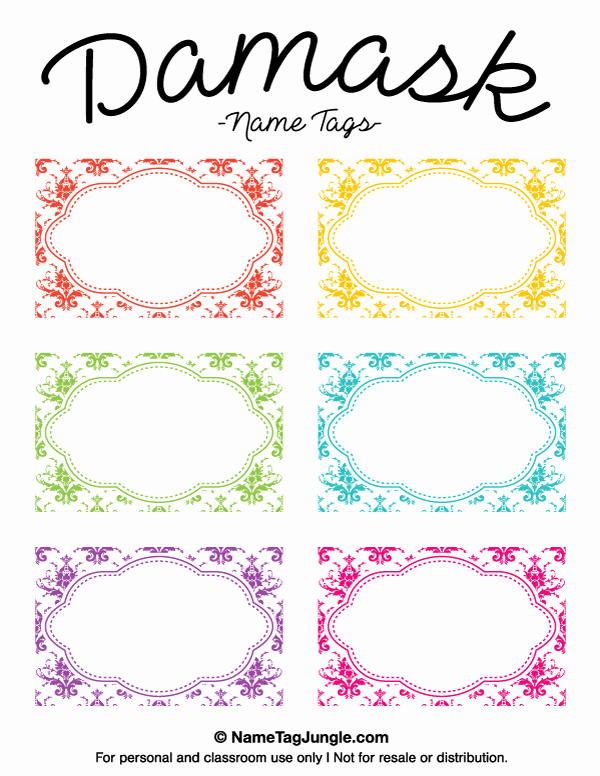Printable Damask Name Tags