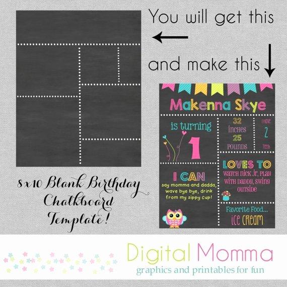Printable Diy Blank Birthday Chalkboard Template by