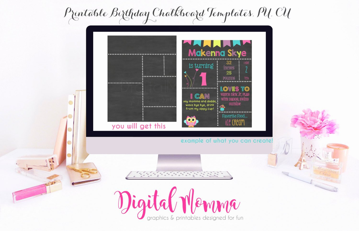 Printable Diy Blank Birthday Chalkboard Template High