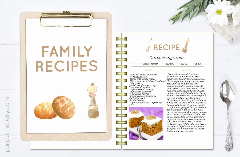 Printable Editable Recipe Pages Recipe Book Template Recipe