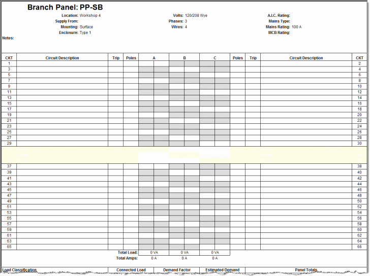Printable Electrical Panel Schedulemplate S Hdmplate