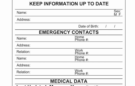 Printable Emergency Contact Card Free Medical Id