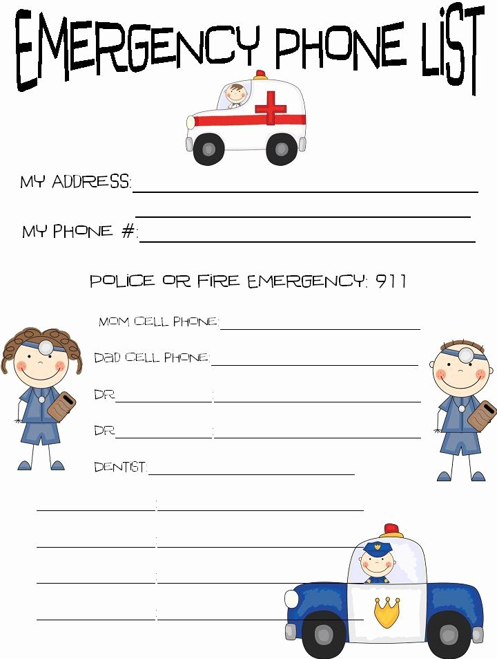 Printable Emergency Contact Sheet Kids