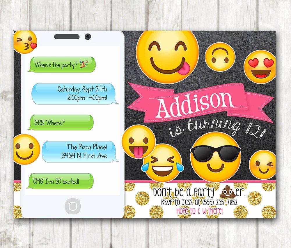 Printable Emoji Birthday Party Invitation Chalkboard Emoji