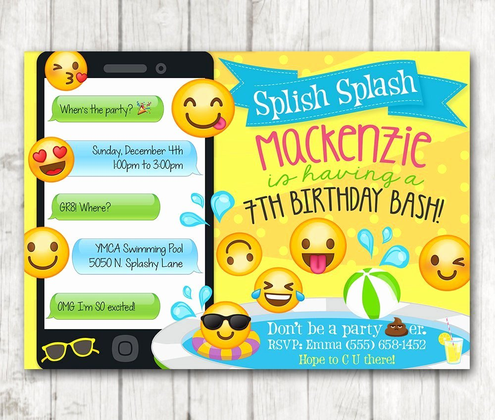 printable emoji pool party party invitation swim party emoji invitations 4