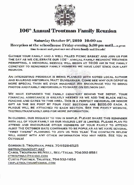 Printable Example Of Family Reunion Program