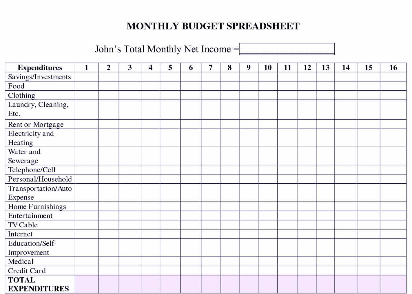 Printable Excel Monthly Bud Template Worksheet