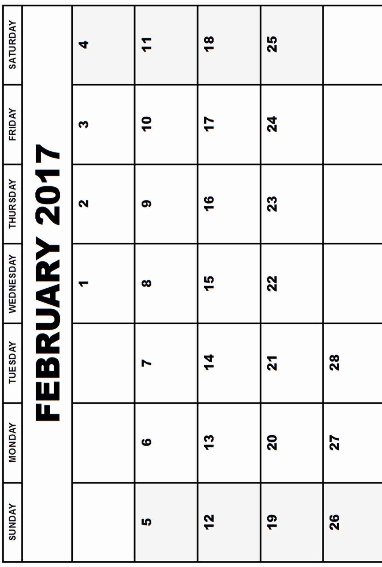 Printable February 2017 Calendar Word Calendar and