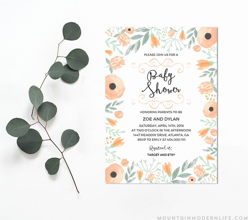 Printable Floral Diy Baby Shower Invitation