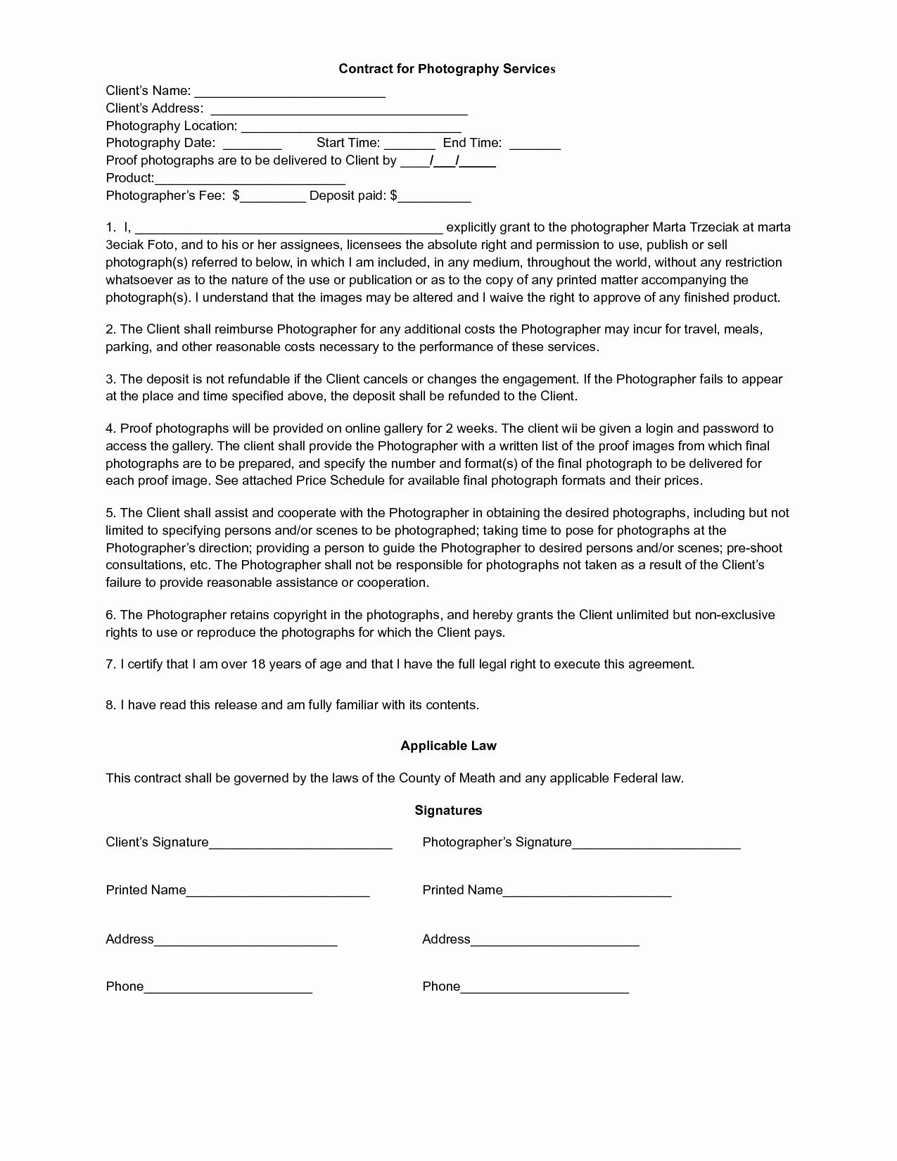 Printable Free Photography Contracts Music Search Engine