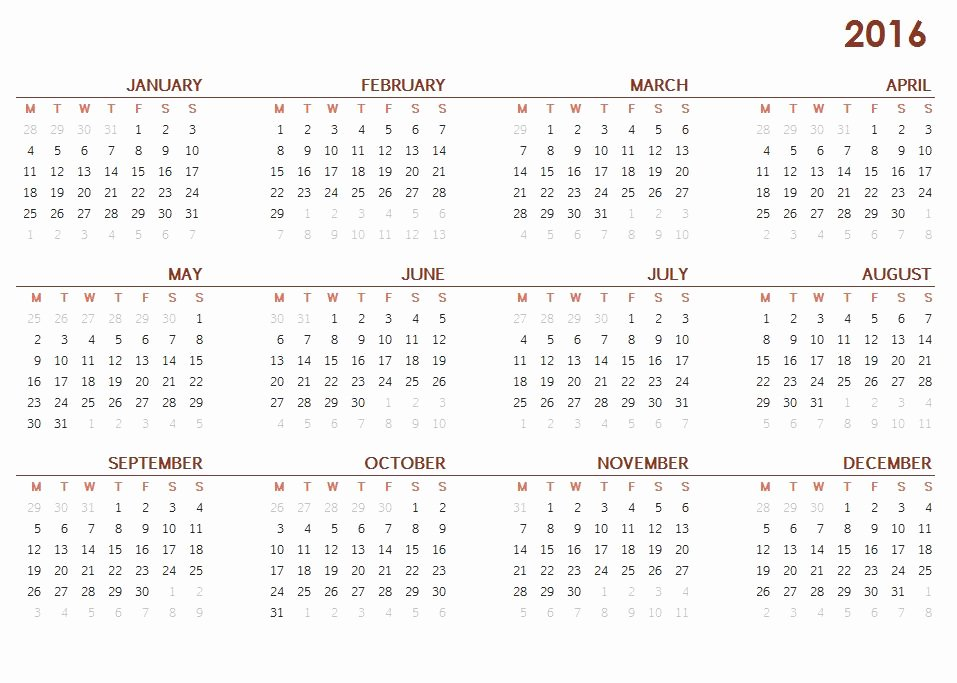 Printable Full Year Calendar 2016 Calendar Template 2018
