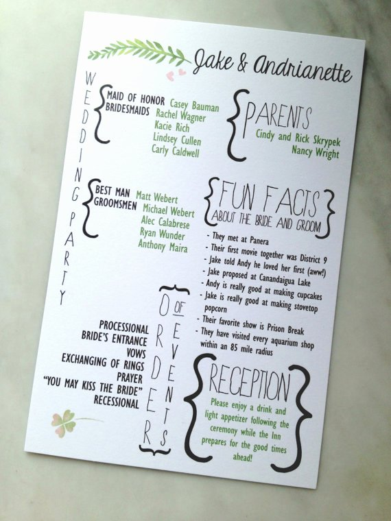 Printable Fun Facts forest Foliage Watercolor Wedding