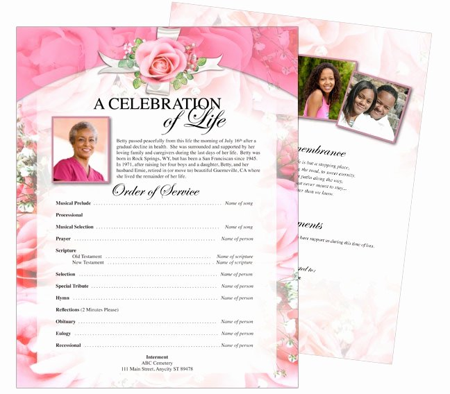 Printable Funeral Memorial Flyers Samples E Page