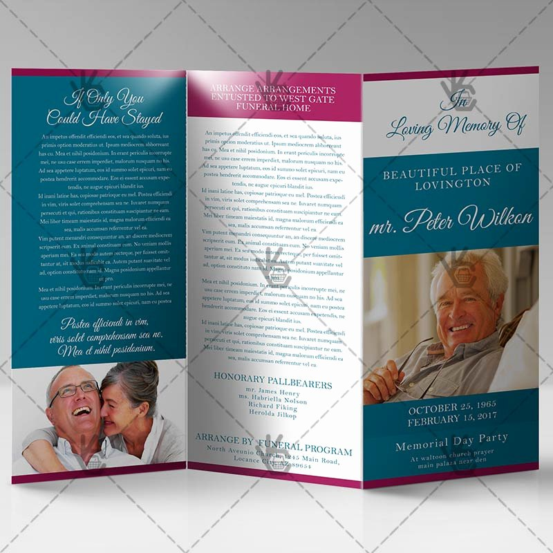 printable funeral program premium tri fold brochure psd template