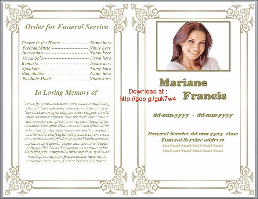 Printable Funeral Program Template Free Download by