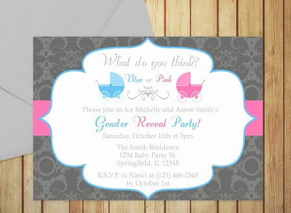 Printable Gender Reveal Invitation Editable Template