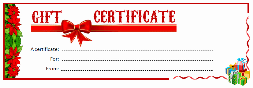 Printable Gift Certificate Ms Word Template