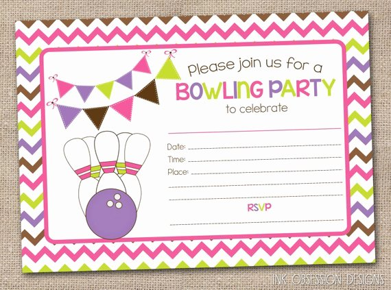 Printable Girls Bowling Party Invitation by