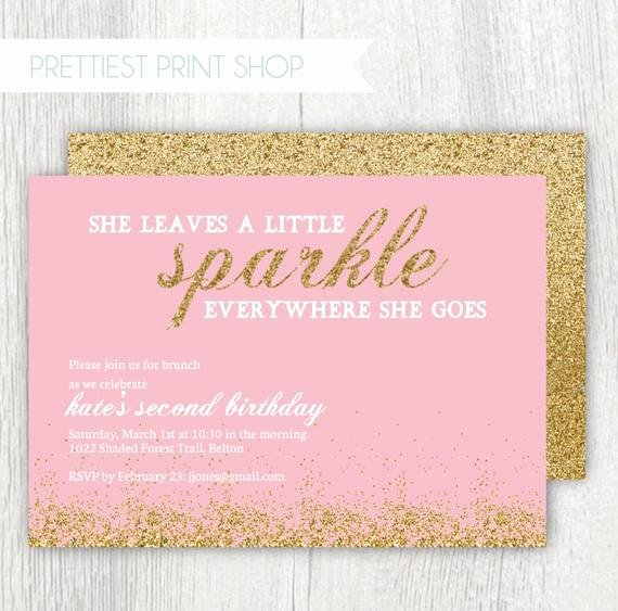 Printable Gold Glitter Invitation Pink by Prettiestprintshop