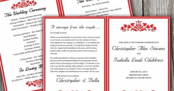 Printable Half Fold Wedding Program Template Microsoft