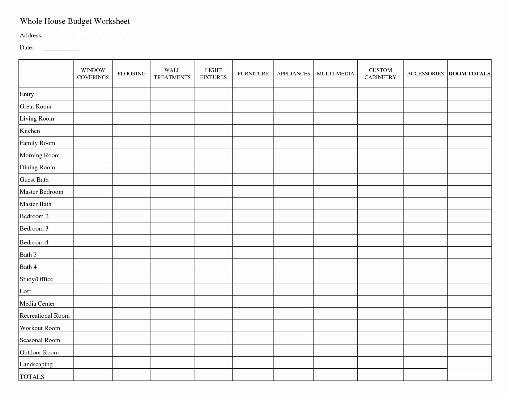Printable Household Bud Worksheets