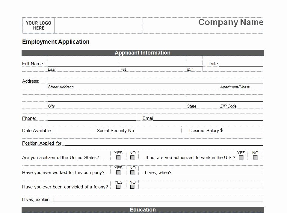 Printable Job Application