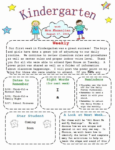 Printable Kindergarten Newsletter Template