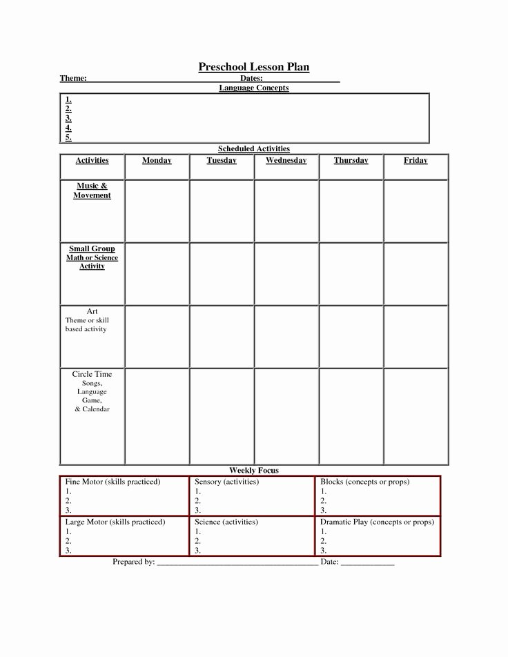 Printable Lesson Plan Template Nuttin but Preschool