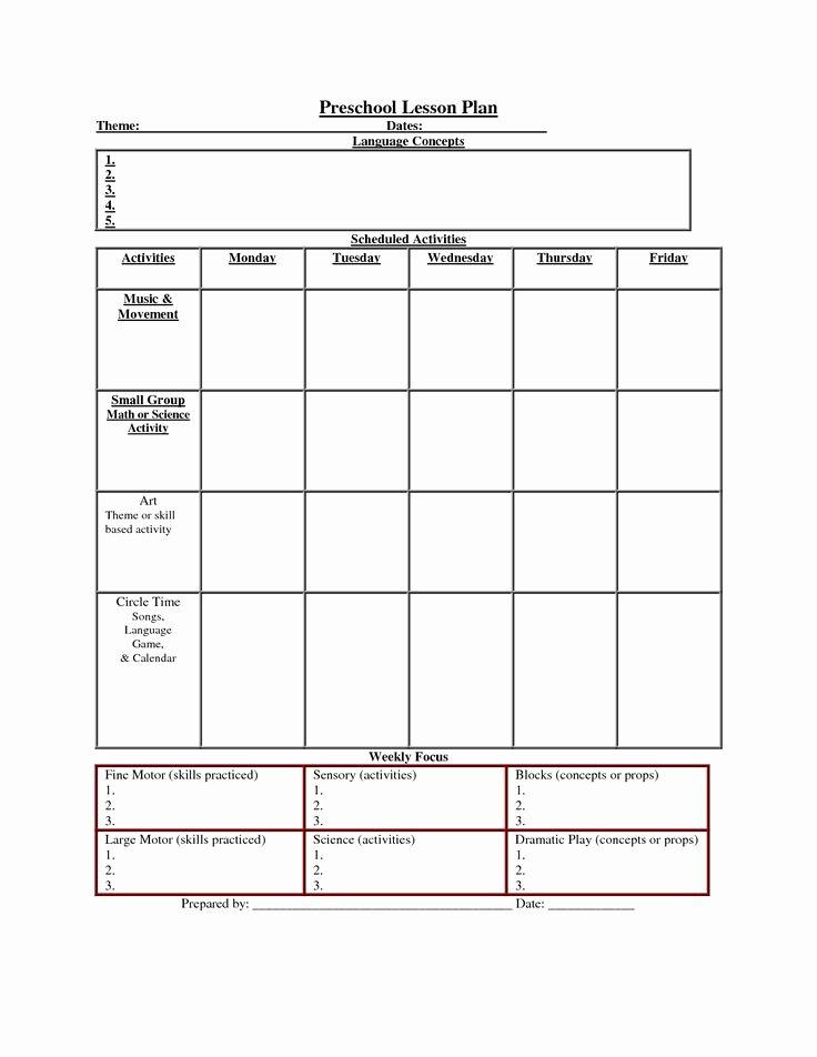 Printable Lesson Plan Template Nuttin but Preschool