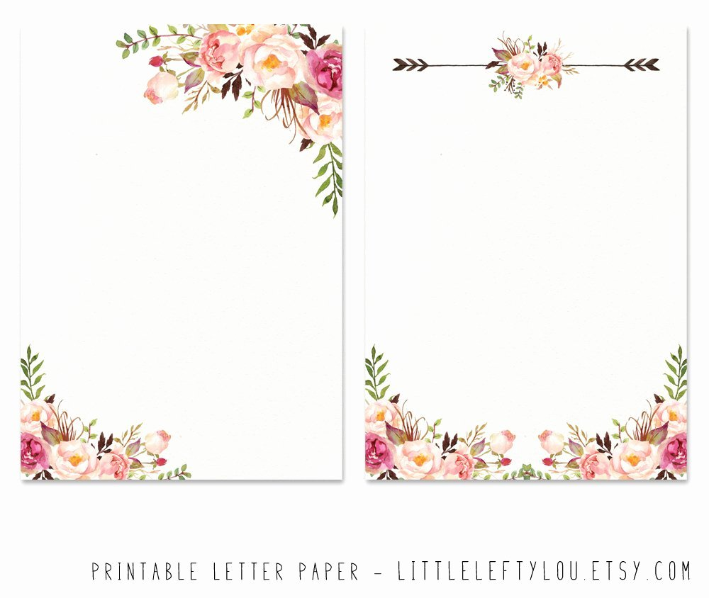 Printable Letter Paper Floral 2 Stationery Writing