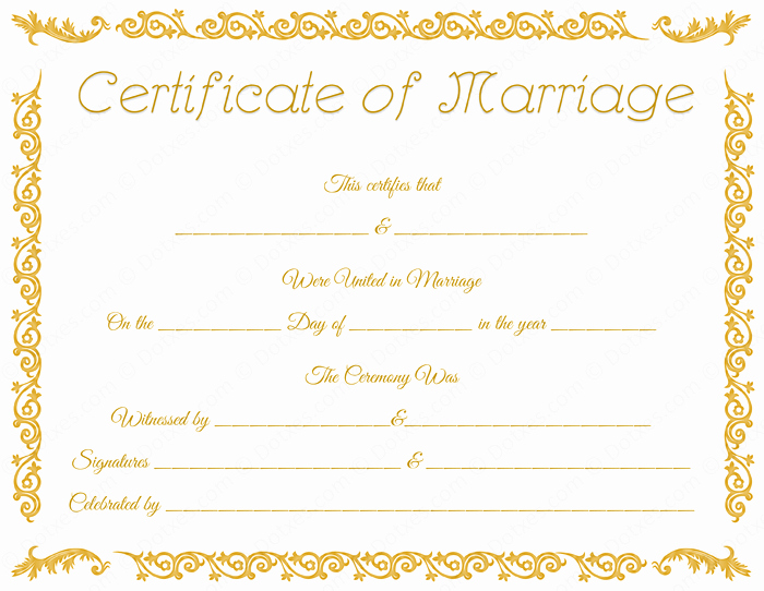 Printable Marriage Certificate Template Dotxes